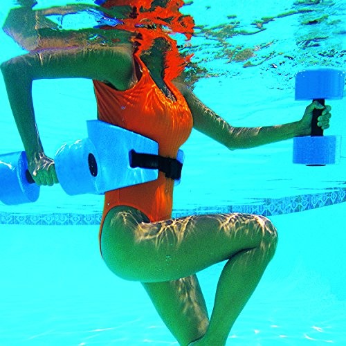 Water Workout and Aerobics - Floatation Belt, Resistance Gloves, Barbells by Aqua Leisure